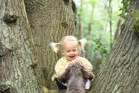 Little girl sitting on the tree  and playing with her dog in the wood on a sunny spring day. Best friends concept. Positive emotions. Outdoor activity and game with family pet on summer holiday.