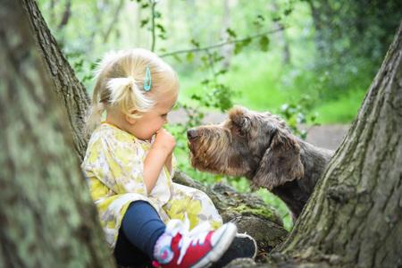 Petite fille assise sur l'arbre et en jouant avec son chien dans le bois sur un jour de printemps ensoleillé. Meilleur amis concept. Les émotions positives. Activités de plein air et jeu avec votre animal de compagnie sur les vacances d'été. Banque d'images