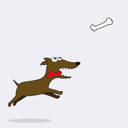 jumps: Happy dog ​​running after the flying bone Illustration