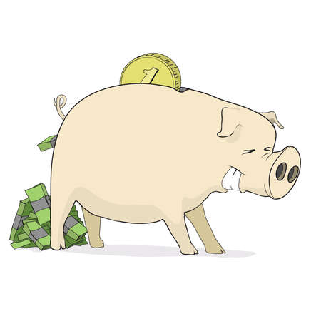 The intense, joyful pig piggy packs defecates dollars Vector