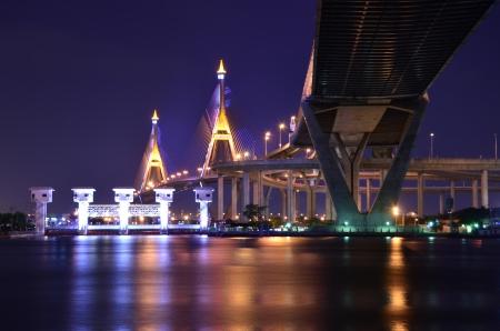 bhumibol: Bhumibol Bridge ,Bangkok Thailand Stock Photo