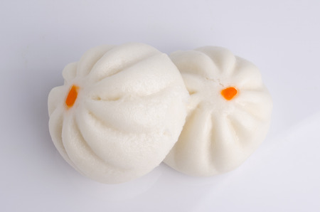 Salapao steamed Chinese bun isolated on white background.