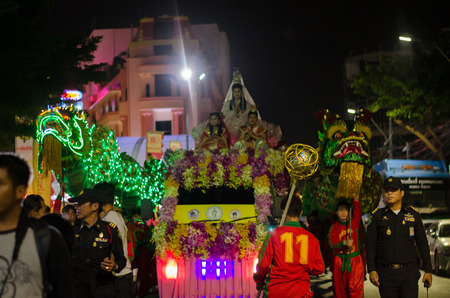 china town: Bangkok, Thailand - September 14, 2015: Unidentified people and dragon dance celebrating Vegetarian  in China Town (Yaowarat), Bangkok, Thailand.