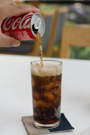 Cold soda iced drink in a glasses