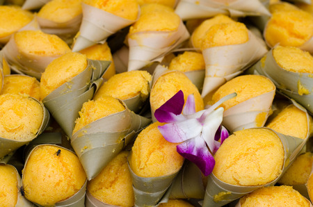 coconut palm sugar: Candy Thailand Steamed sugar palm cake with coconut Stock Photo