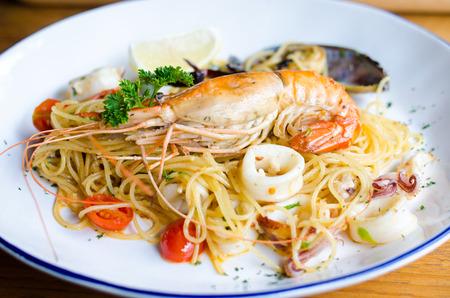 shrimp cocktail: Seafood pasta Spaghetti with big shrimp, Prawns, Seafood Cocktail. Shrimp,squid