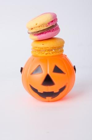 Colorful Macaron with Halloween Pumpkin Stock Photo