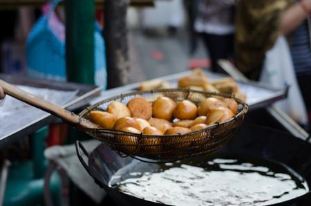Thai snack: Fried Mung Bean Stuffed Balls Stock Photo