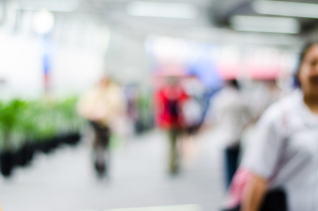 people walk in motion blur at the skytrain station (blur backfround) Stock Photo