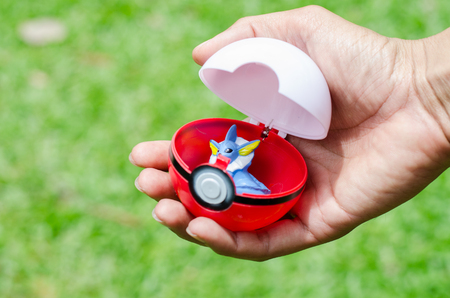 Bangkok, THAILAND - 5 September 2016: The photo of Pokeball on  Thailand. Pokeball is equipment for catch Pokemons - characters in game Pokemon Go.