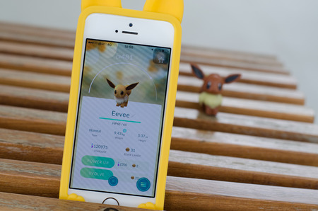 BANGKOK,THAILAND-September 29, 2016 : Pokemon Go is a virtual reality game released in July 2016.