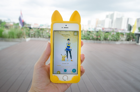 BANGKOK,THAILAND-September 29, 2016 : Pokemon Go,most popular new online game application smartphone, a free-to-play reality mobile game developed by Niantic for iOS and Android devices