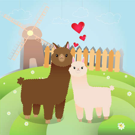 cute alpacas in the little farm Vector