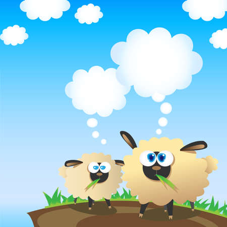 sheep eye: Two sheep and their thinking bubbles