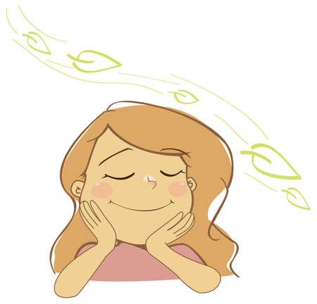 the breath: Natural girl breathing fresh air