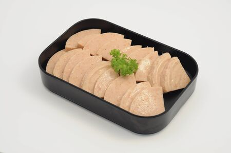 Slices of Luncheon meat in a plate