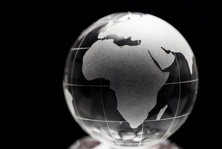 transparent globe: Transparent globe with black background