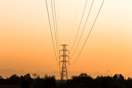 electrical tower: Silhouette of electrical tower