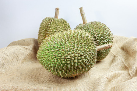 a place of life: Fruit Durian place on the cloth, still life Stock Photo