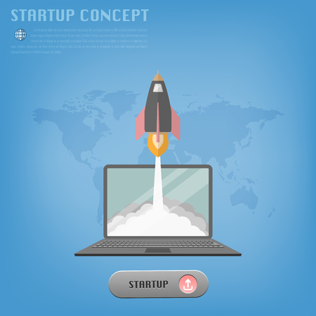 botton: Startup concept with rocket launch from laptop to the outside. Include start up button and world map background