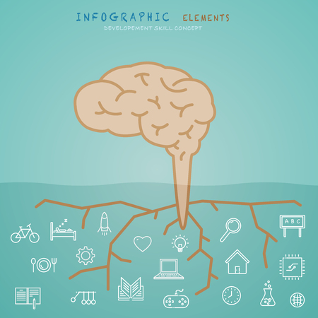 Brain info-graphic elements with development and growth skill concept.  イラスト・ベクター素材