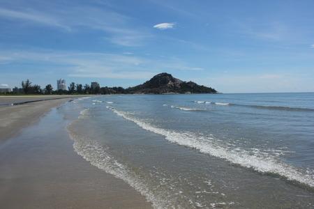 White Sand Beach and blue sky. photo