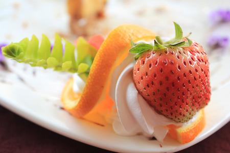 fresh strawberries with cake photo