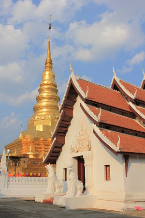 Golden pagoda and Marble Temple in Nan,thailand photo