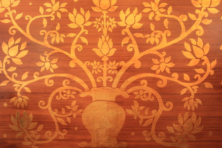 gold tree: Pattern of carve gold tree on old wood texture.