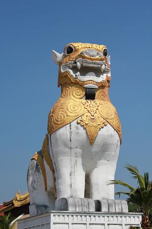 kanchanaburi: Lion statues in Kanchanaburi, Thailand. Stock Photo