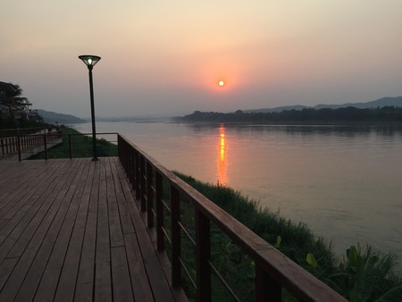 balcony: The sunsets at the Mekong River,Thailand Stock Photo