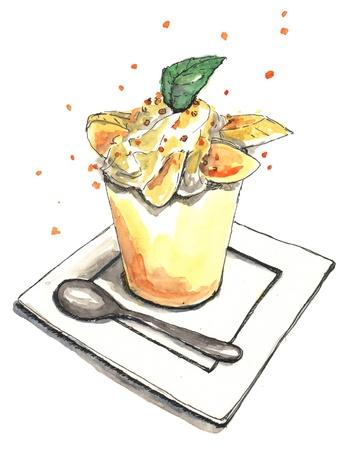 Watercolor illustration of bunana pudding