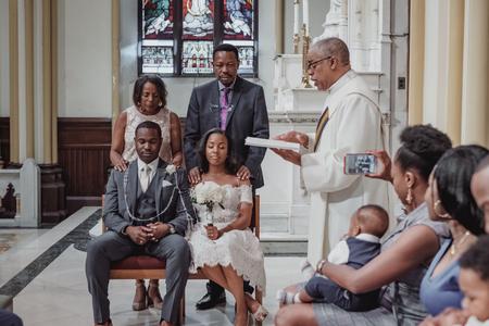 NEW YORK CITY, USA - July 10, 2018: catholic wedding ceremony in the church