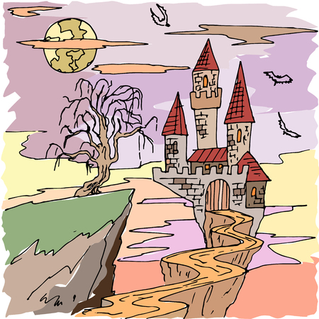 Vector seamless pattern for Halloween. Dracula s castle, bat and other items on Halloween theme. Bright cartoon pattern for Halloween