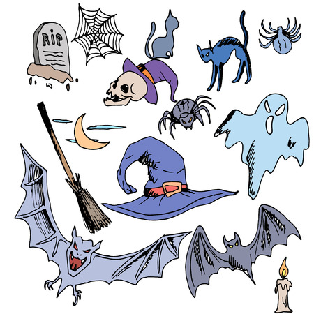 cobwebs: Vector seamless pattern for Halloween. ghost, bat, skull, brooms, spiders, cobwebs, candle, grave and other items on Halloween theme. Bright cartoon pattern for Halloween Illustration