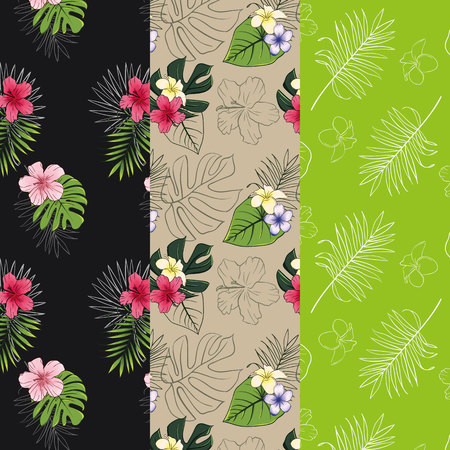 Set of 3 seamless patterns with tropical designs. Pattern with tropical plants. Stock Photo