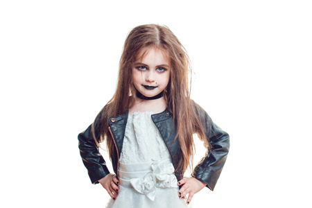 Girl in Bride of Chucky Doll costume isolated on white. Halloween.