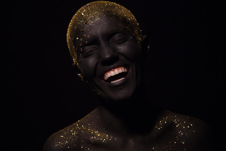 Portrait Of A Beautiful Woman With Creative Body Art Glowing Stock Photo Picture And Royalty Free Image Image 93315909