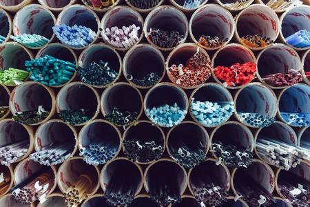 Sticks of colored Venetian glass. Murano glass, millefiori. Archivio Fotografico