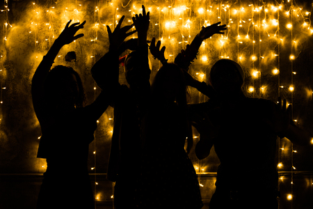 Young people are dancing. Nightlife and disco concept. Party. Stock Photo