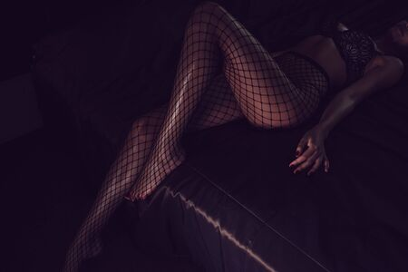 Sexy female legs in black fishnet tights.