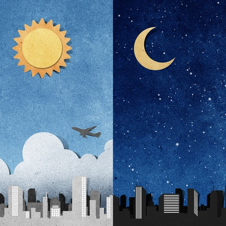 craft materials: city panorama silhouettes recycled paper craft stick on white background Stock Photo