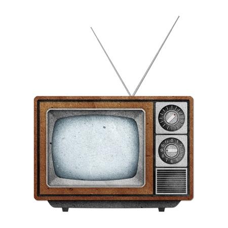 television antigua: Palo de papel reciclado de icono de televisi�n (TV) sobre fondo blanco
