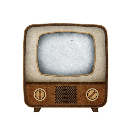 Television ( TV ) icon recycled paper stick on white background Stock Photo - 9641526