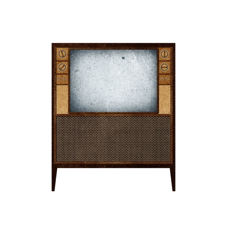 Television ( TV ) icon recycled paper stick on white background Stock Photo - 9641524