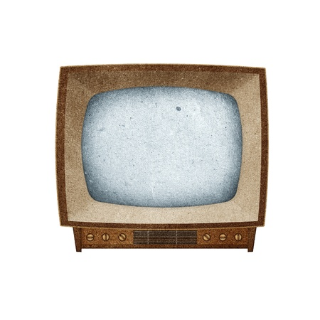 Television ( TV ) icon recycled paper stick on white background Stock Photo - 9641527