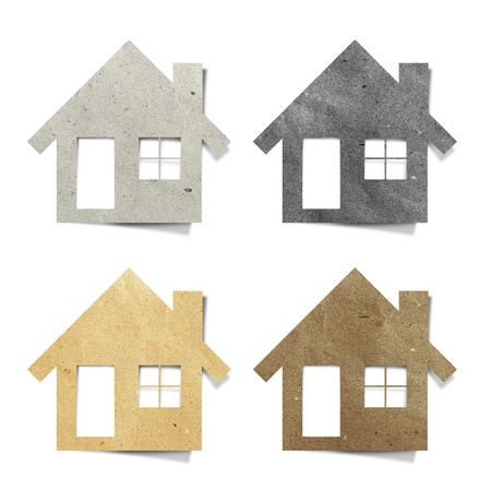 house recycled paper stick on white background Stock Photo - 9648318