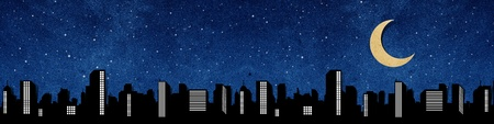 city panorama silhouettes recycled paper craft stick on recycled paper background Stock Photo - 9648263