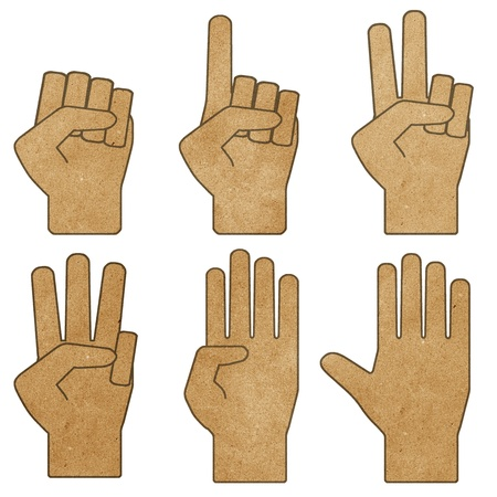 hands recycled paper craft stick on white background Stock Photo - 9648276