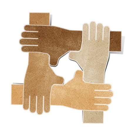 hands recycled paper craft stick on white background Stock Photo - 9648349